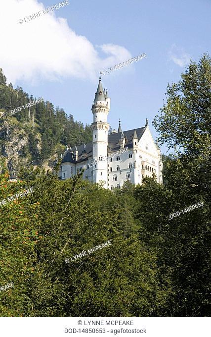 Germany, Bavaria, Schwangeau, View of Neuschwanstein castle
