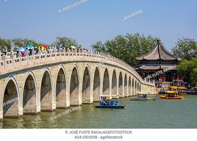China, Beijin City, The Summer Palace, Kunming Lake. Seventeen Arch Bridge