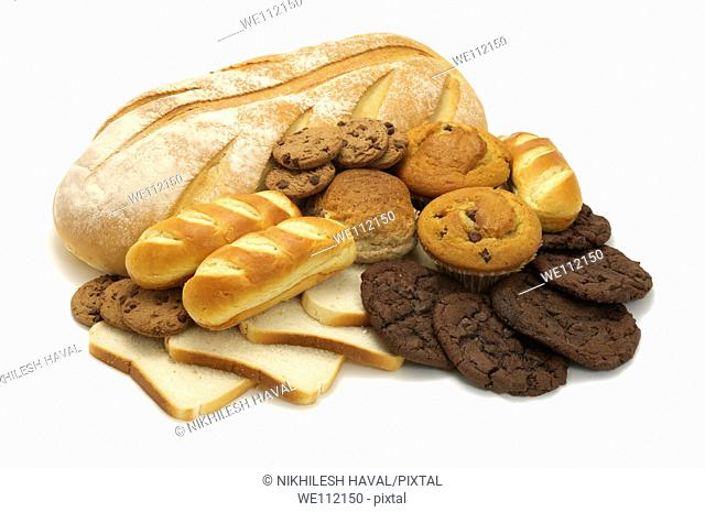 Bread loaf slices brioche muffin bun cookies