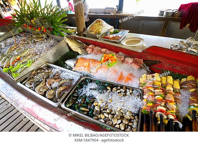 Seafood in a restaurant  Ton Sai village  Phi Phi Don island  Krabi province, Andaman Sea, Thailand