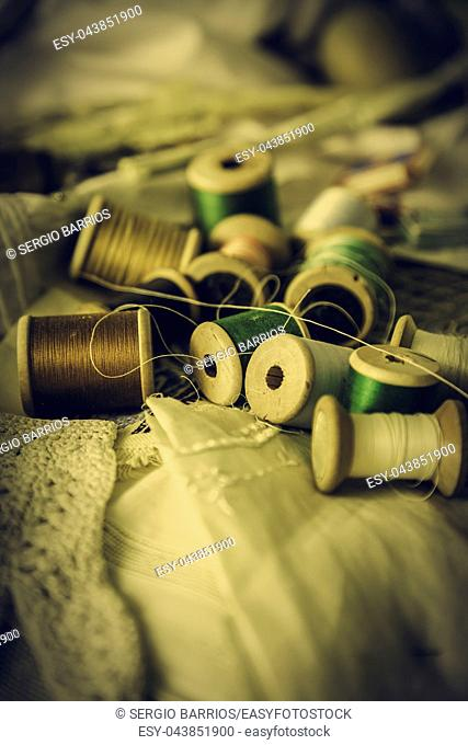 Old sewing threads, objects for sewing clothes