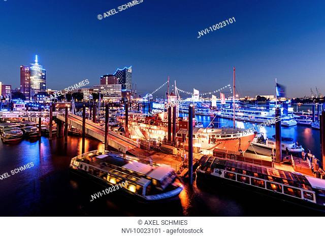 City marina at dusk, Blue Port 2015, Hamburg, Germany