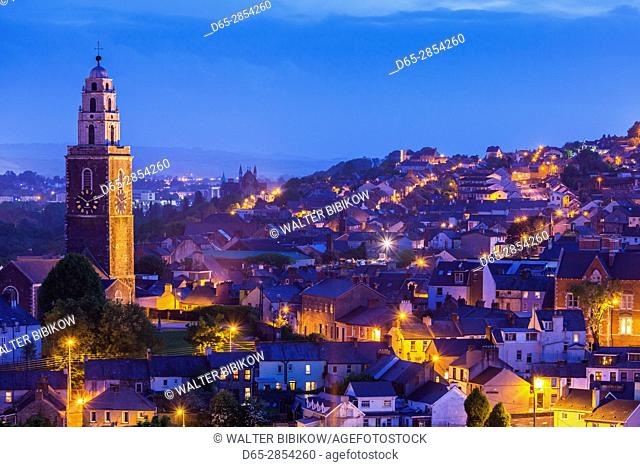 Ireland, County Cork, Cork City, St. Anne's Church, elevated view, dusk