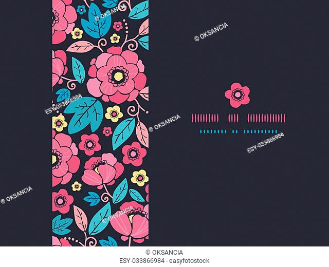 Vector Night Kimono Blossom Horizontal Frame Seamless Pattern Background with vibrant Asian style flowers on black background