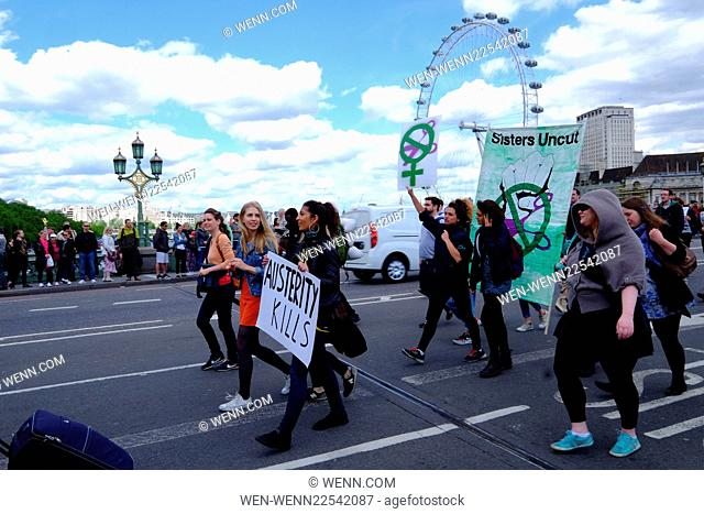 UK Uncut protesters rally against austerity measures on Westminster Bridge, interrupting traffic Featuring: Atmosphere Where: London