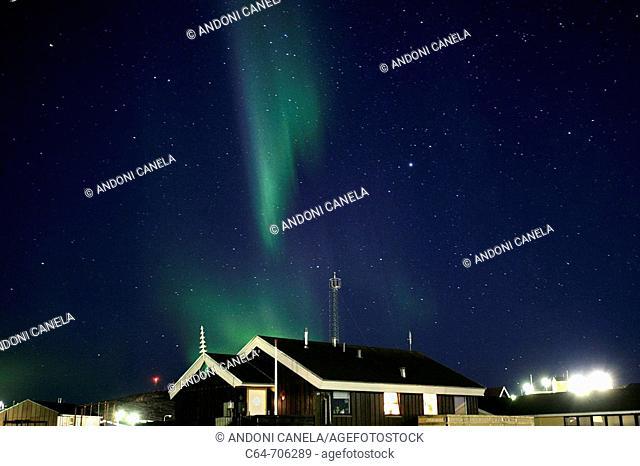 Northern lights or Aurora Borealis. Greenland