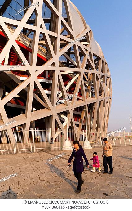 Bird's Nest National Stadium by architects Herzog and De Meuron, 2008, Olympic Green, Beijing, China, Asia