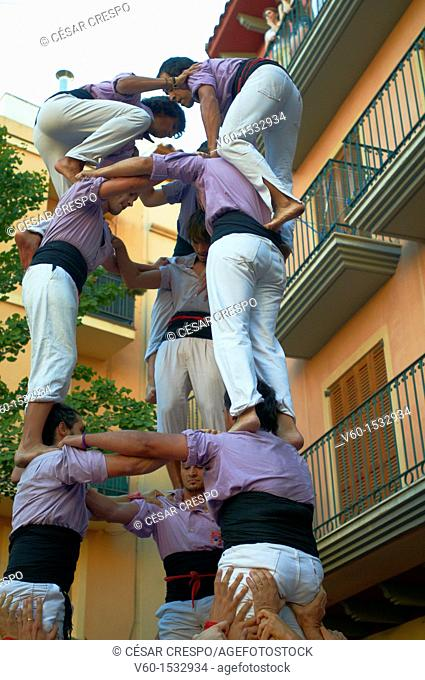 -Human Towers- Castellers Festival, Cambrils, Catalonia (Spain)