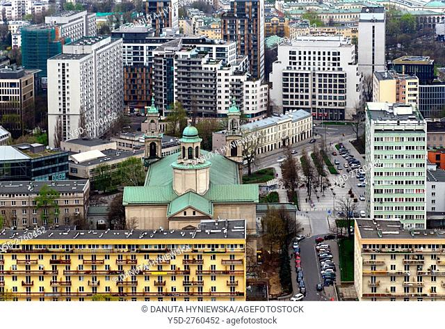 Panoramic view for Grzybowski square and All Saints church - Kosciol Wszystkich Swietych, during WW II occupation it was located in Jewish Ghetto and served...