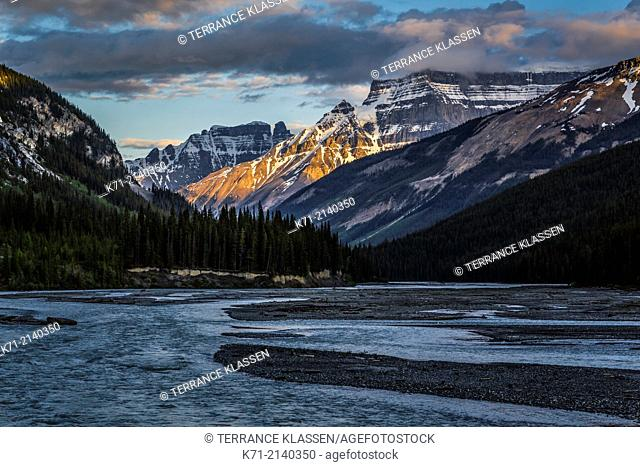 An evening sunset view along the Icefield Parkway in Jasper National Park, Alberta