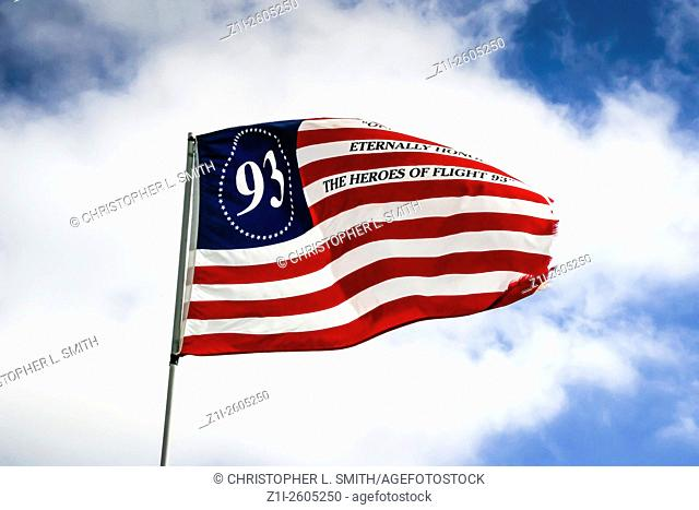 US Flag flying over the area where Flight 93 crashed on September 11, 2001 at Shanksville PA