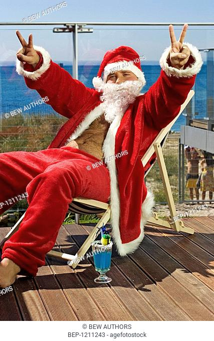 Santa claus at the sea