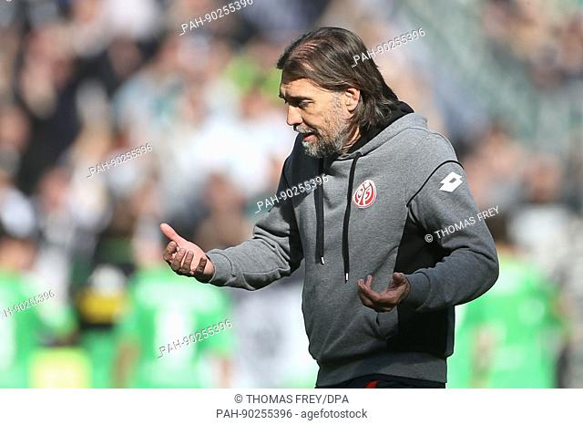 Mainz's coach Martin Schmidt disappointed after the loss at the German Bundesliga soccer match between FSV Mainz 05 and Borussia Moenchengladbach at the Opel...