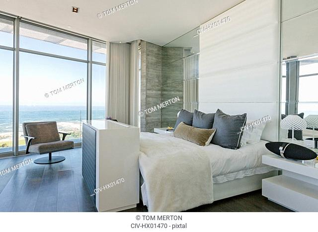 Luxury modern home showcase bedroom with ocean view
