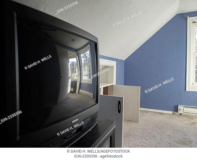 Television inside a foreclosed house in McMinnville, Oregon