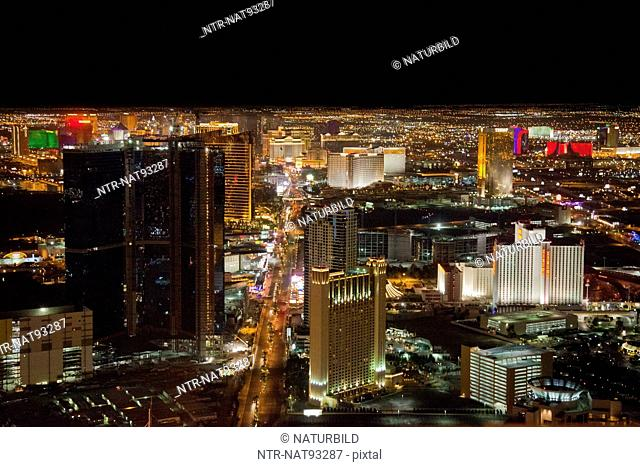 High angle view of Las Vegas illuminate at night