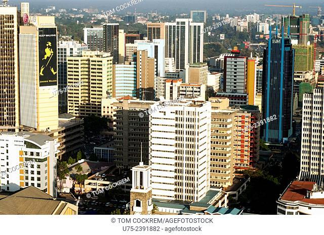Aerial view of Nairobi CBD buildings looking west, Kenya