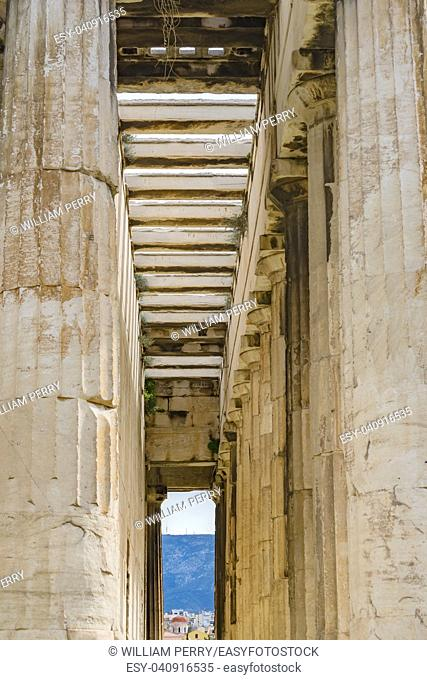Ancient Temple of Hephaestus Entrance Columns Agora Market Place Athens Greece. Agora founded 6th Century BC. Temple for God of craftsmanship