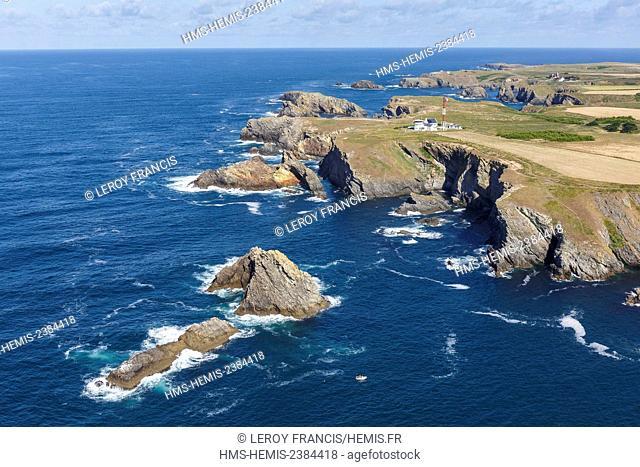 France, Morbihan, Belle Ile, Bangor, Roches de Bornor and pointe du Talut semaphore (aerial view)