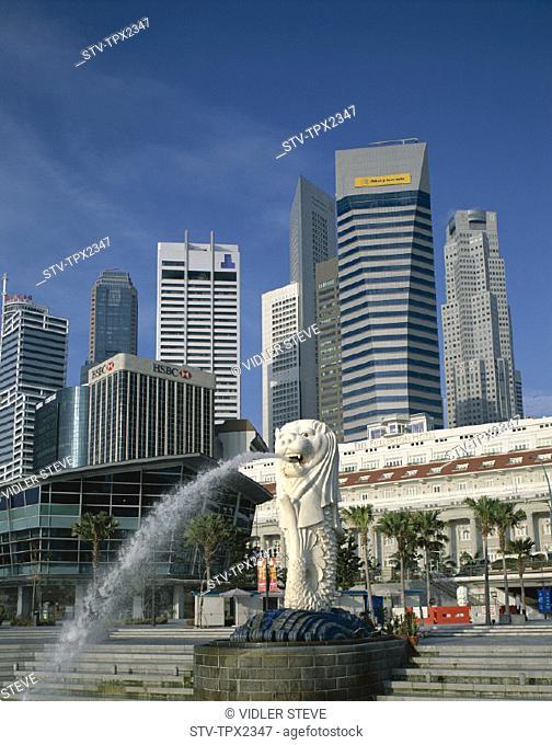City, Fountain, Fullerton building, Holiday, Landmark, Merlion, Singapore, Asia, Skyline, Statue, Tourism, Travel, Vacation