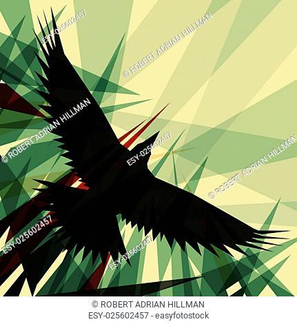 Editable vector design of a flying crow