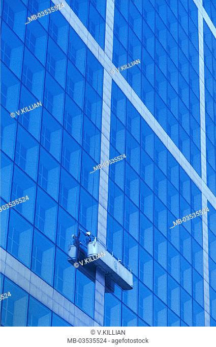 High-rise, glass facade, window cleaner, work basket, high-rise facade, business buildings, facade, mirror facade, windows, windows, building cleaning, clean