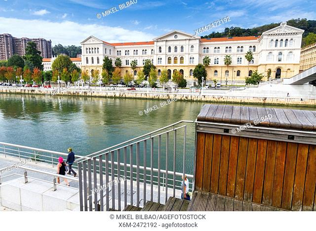 University of Deusto and Nervion river. Bilbao, Biscay, Spain, Europe