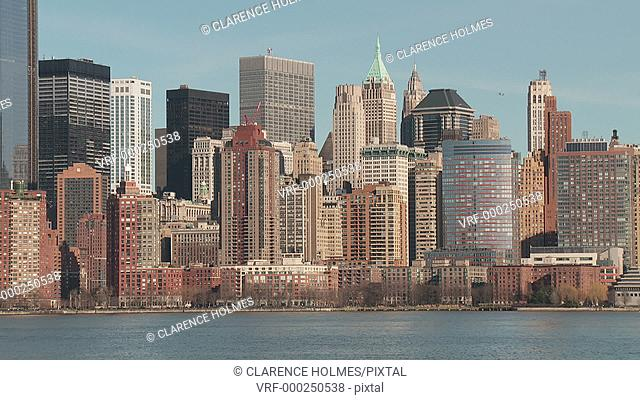 A view of the skyline of lower Manhattan in New York City