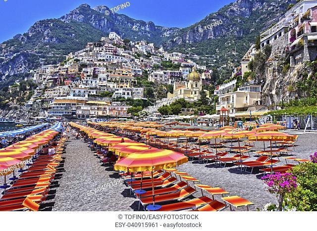 City of Positano on Amalfi coast in the province of Salerno, Campania, Italy