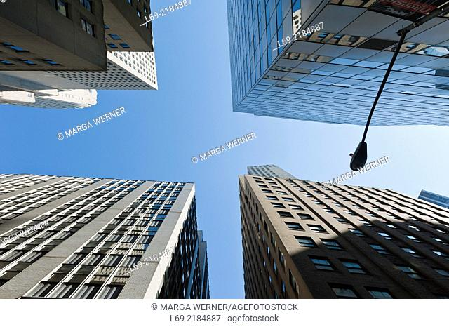 Intersection with high rise buildings in Financial District, Downtown Manhattan, New York, USA