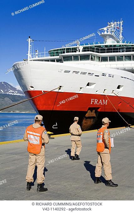Cruise ship 'Fram' in Ushuaia, Tierra del Fuego, Patagonia, Argentina