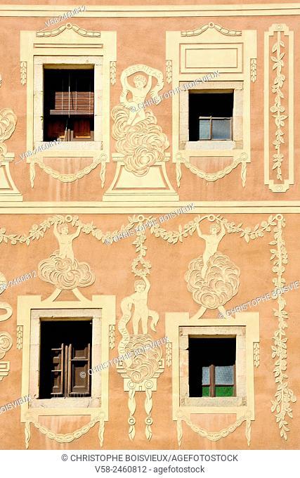 Art Nouveau facade, Plaça del Pi, Gothic Quarter (medieval district), Barcelona, Catalonia, Spain