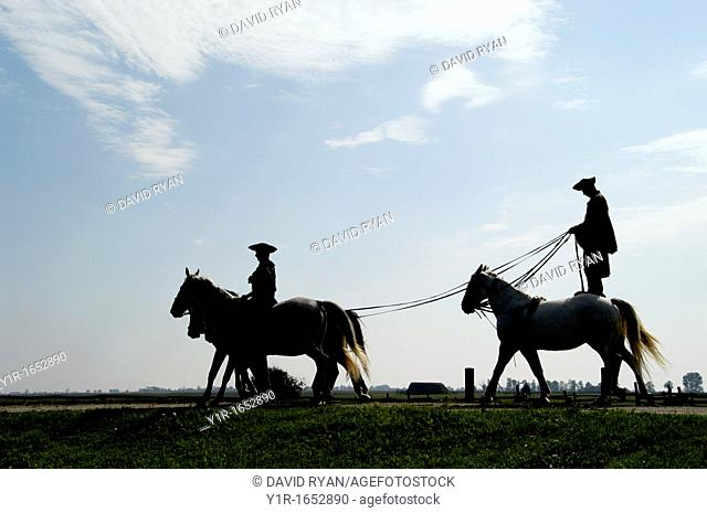 Hungary, A 'chicos' cowboy giving a riding demonstration at a farm in the 'Puszta', near Kalocsa