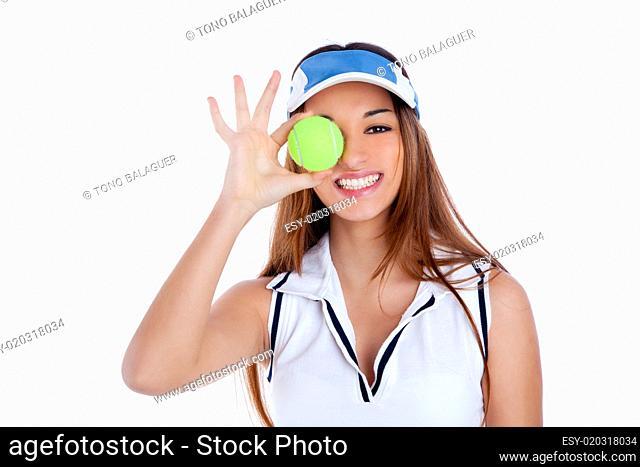 brunette tennis girl white dress and sun visor cap