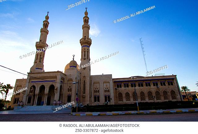 Baghdad, Iraq – April 11, 2019: A picture of a mosque Um Al-tobool during the day, Show the domes and minarets, The decoration of the Islamic