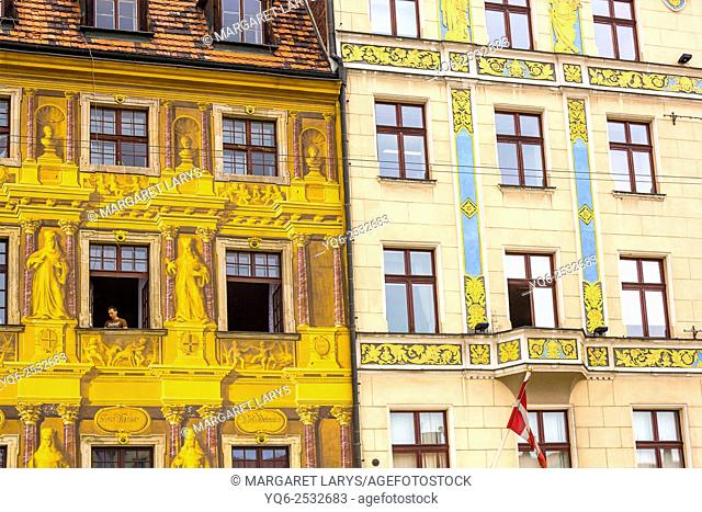 Close up of old, beautiful, colorful and unique historical tenement houses at the Old Market Square in Wroclaw, Poland