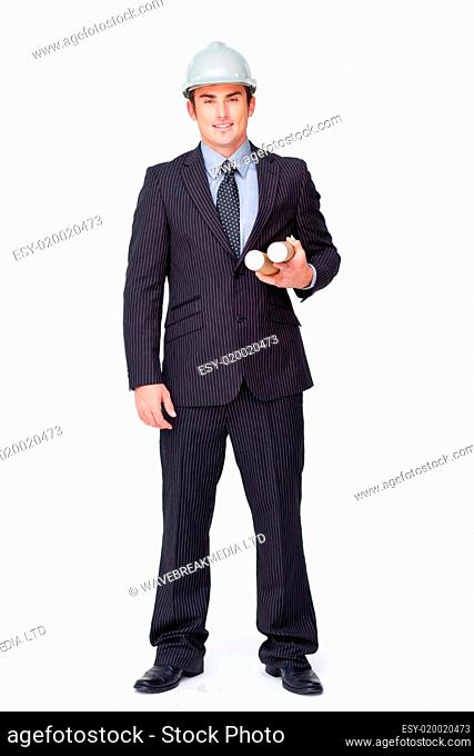 Standing attractive businessman against white