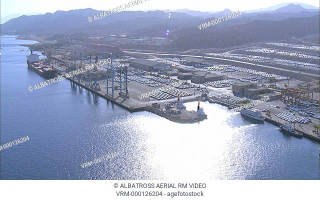 Aerial footage of Eilat Seaport