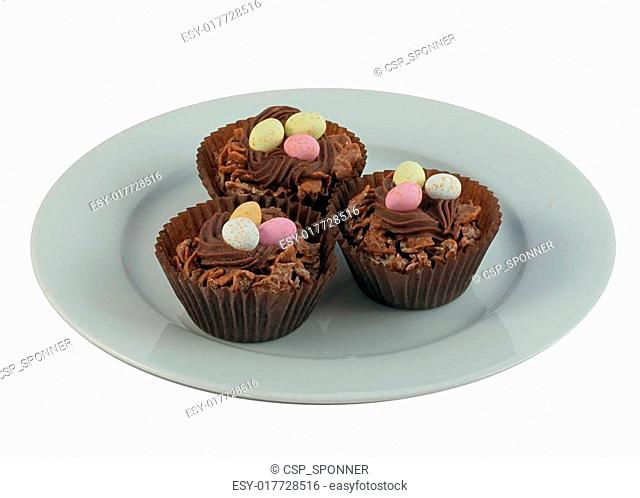 Easter Cakes on White China Plate