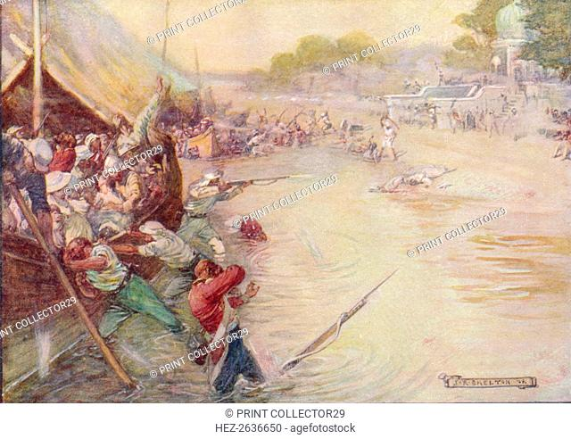 'The Boats Stuck In The Mud And Were An Easy Mark', 1908, (c1920). Artist: Joseph Ratcliffe Skelton