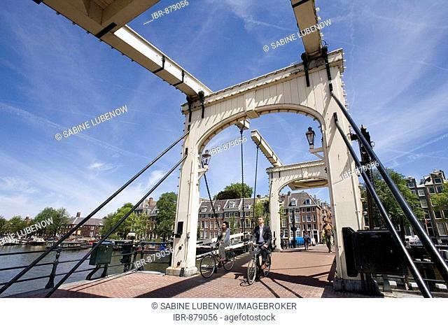 Magere Brug, railway bridge, Amstel, Amsterdam, Netherlands, Europe