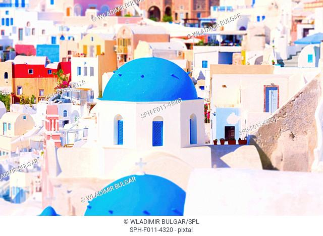 Building with blue domed roof, Santorini, Greece