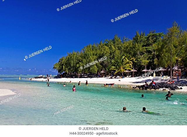 Ile aux Cerf Lagoon dream beach people Mauritius Indian Ocean Africa