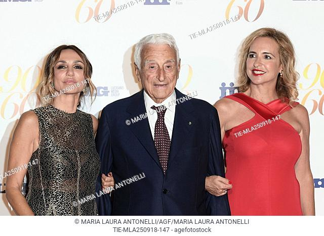 Fulvio Lucisano nella foto con le figlie Paola and Federica during red carpet of 60/90 party, for 60 years of career and ninetieth birthday of Fulvio Lucisano