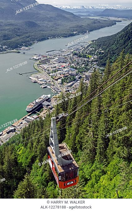 Aerial view from the Mt. Roberts Tramway of Gastineau channel, Douglas Island, and Juneau with Holland America cruise ship visible, Southeast Alaska