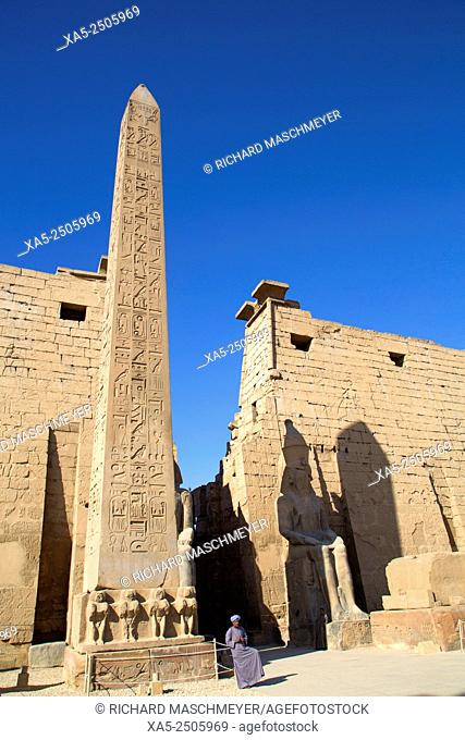 Obelisk (25 Meters High) in Front of Plyon (65 Meters wide), Luxor Temple, Luxor, Egypt