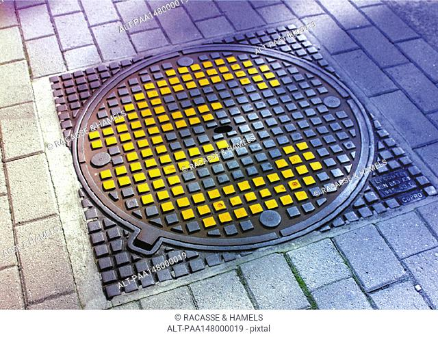 Euro sign on manhole cover