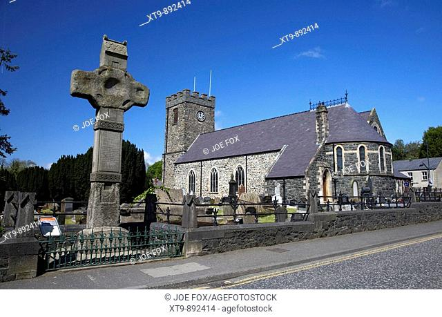 Granite Celtic High Cross in Dromore in the grounds of dromore cathedral moved from its original position in the market place after being broken
