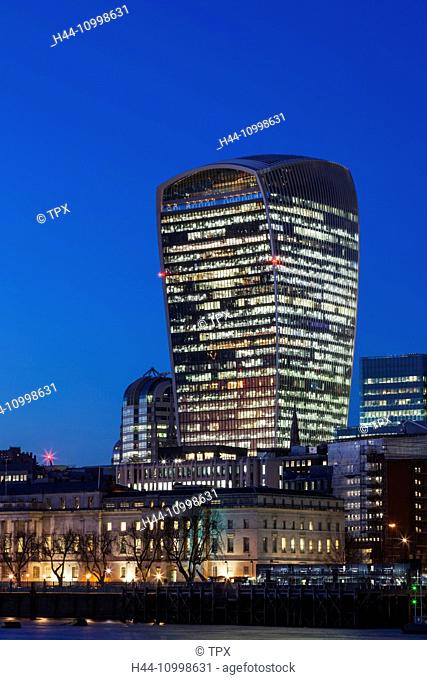 England, London, City Skyline and The Walkie Talkie Building