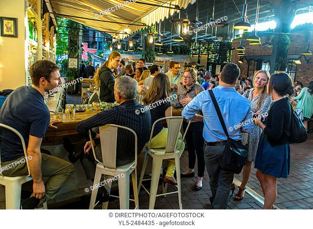 New York City, USA, Street Scenes, Meat Packing District, People Sharing Drinks in Beer Garden, Under High Line